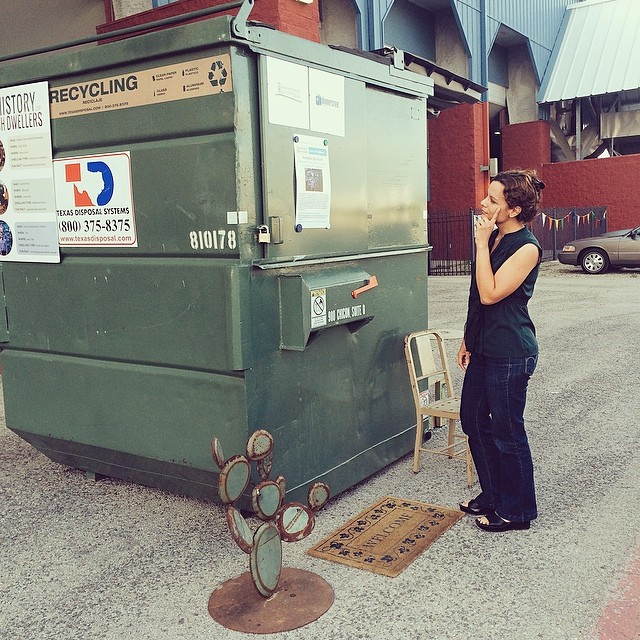 Come_visit_us_during_week_2_of_the__dumpsterproject__atx_home_tour_-_this_week_at__austinminimakerfaire._Saturday_53_10-6._Here__thedirt_yprofessor_is_contemplating_the_finer_points_of_the_projects__sustainability_goals._Yeah_right._She_s_wondering_w
