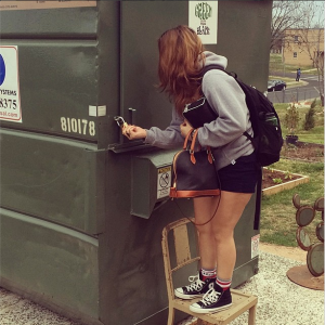 GITNB student, Sarah Lindell, locks up after a sweet night's sleep in the dumpster.
