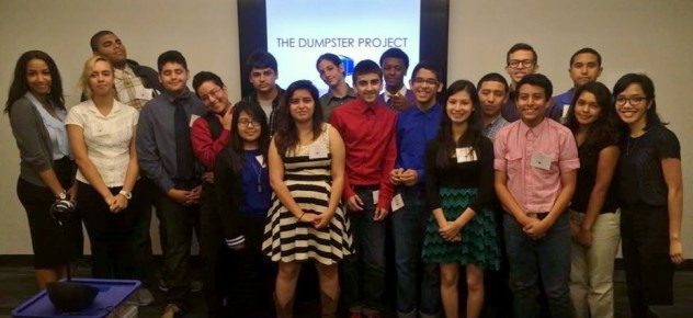Del Valle students present their final product to the Dumpster Project team.
